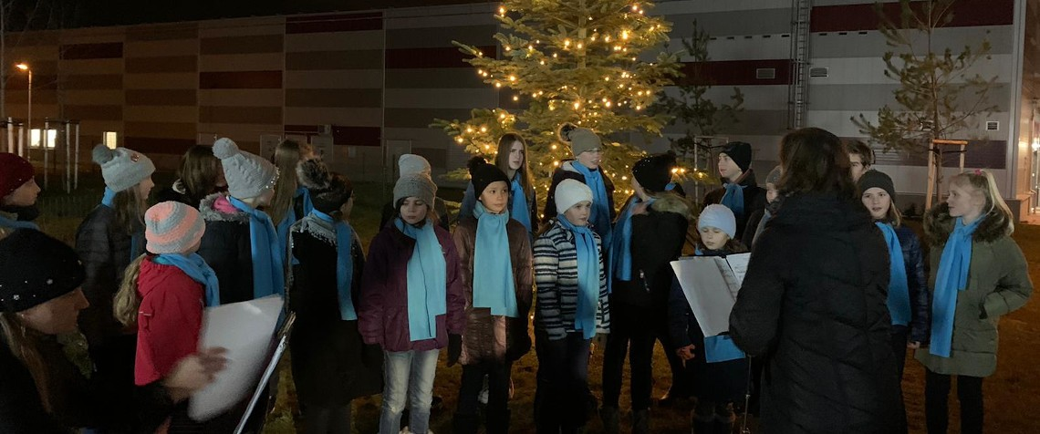 Christmas tree lighting ceremony, or Advent at Finep